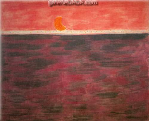 Milton Avery,  Tangerine Moon and Wine Dark Sea Fine Art Reproduction Oil Painting