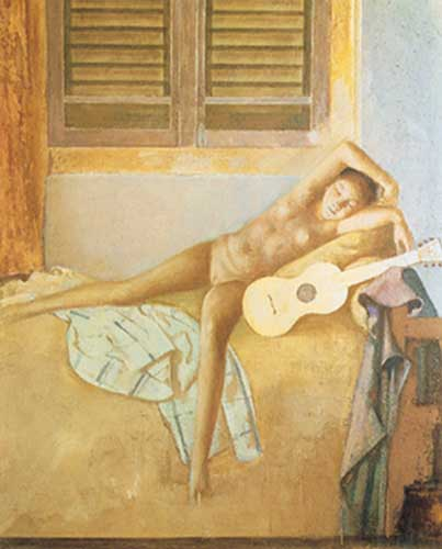 Balthasar Balthus,  Nude with a Guitar Fine Art Reproduction Oil Painting