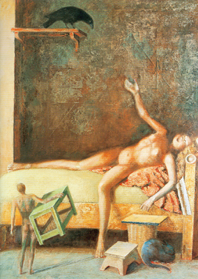 Balthasar Balthus,  Large Composition with Raven Fine Art Reproduction Oil Painting