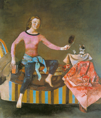 Balthasar Balthus,  Cat in a Mirror II Fine Art Reproduction Oil Painting