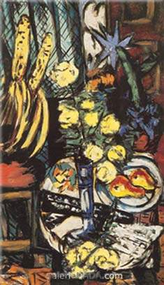 Max Beckmann,  Still Life with Yellow Roses Fine Art Reproduction Oil Painting