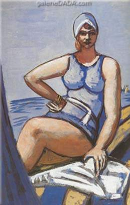 Max Beckmann,  Quappi in Blue in a Boat Fine Art Reproduction Oil Painting