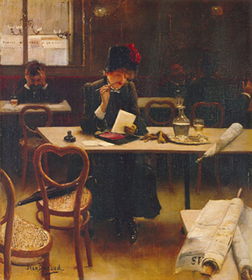 Jean Beraud,  Woman in a Caf? Fine Art Reproduction Oil Painting