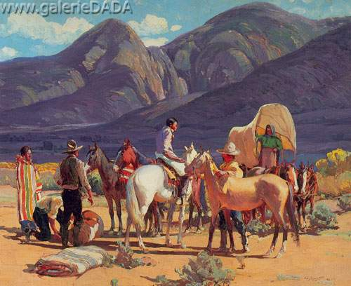 Oscar Berninghaus,  Horse Traders Fine Art Reproduction Oil Painting