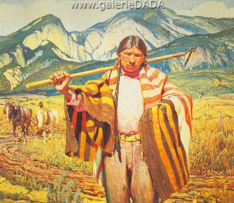 Oscar Berninghaus,  Indian Farmer of Taos Fine Art Reproduction Oil Painting