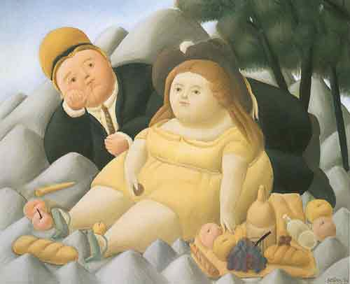 Fernando Botero,  Picnic in the Mountains Fine Art Reproduction Oil Painting