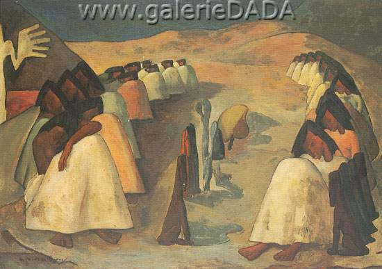 Angel Botello,  Landscape with Figures Fine Art Reproduction Oil Painting