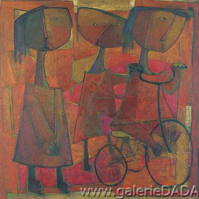 Angel Botello,  Infantas con Bicicletta Fine Art Reproduction Oil Painting