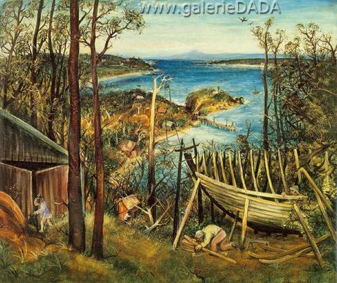 Arthur Merric Boyd,  Boat Builders Eden Fine Art Reproduction Oil Painting