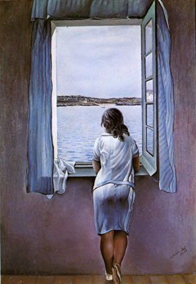 Salvador Dali,  Girl Standing at the Window Fine Art Reproduction Oil Painting
