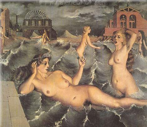 Paul Delvaux,  Nymphs Bathing Fine Art Reproduction Oil Painting