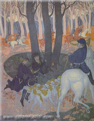 Maurice Denis,  Unleashing the Hounds Fine Art Reproduction Oil Painting