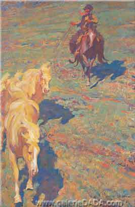 Maynard Dixon,  The Palomino Mare Fine Art Reproduction Oil Painting