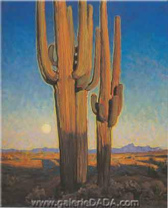 Maynard Dixon,  Saguaros at Sunset Fine Art Reproduction Oil Painting