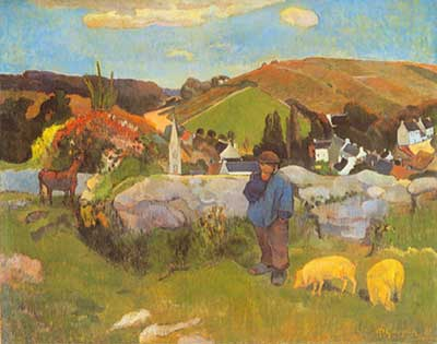 Paul Gauguin,  The Swineherd Brittany Fine Art Reproduction Oil Painting