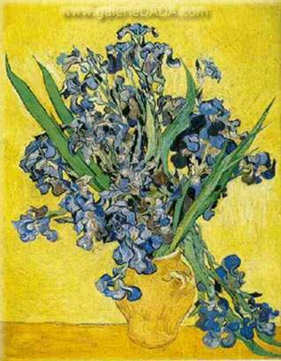 Vincent Van Gogh,  Vase with Irises against a Yellow Background Fine Art Reproduction Oil Painting