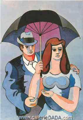 Jean Helion,  Under a Black Umbrella Fine Art Reproduction Oil Painting