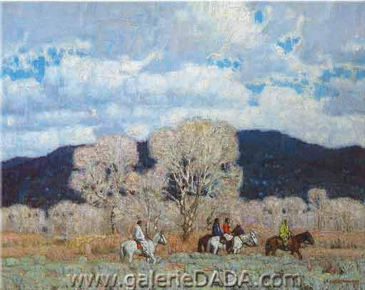 E. Martin Hennings,  Passing Indians Fine Art Reproduction Oil Painting