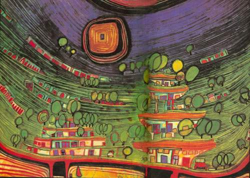Friedensreich Hundertwasser,  The Hoses are Hanging Underneath the Meadows Fine Art Reproduction Oil Painting