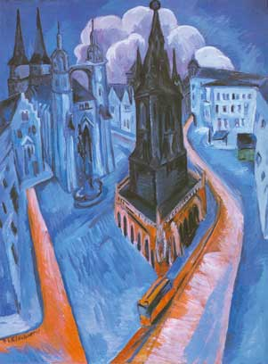 Ernst Ludwig Kirchner,  The Red Tower in Halle Fine Art Reproduction Oil Painting