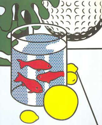 Roy Lichtenstein,  Still Life with Goldfish Bowl Painting Fine Art Reproduction Oil Painting