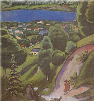 August Macke,  Tegernsee Landscape with Man Reading and Dog Fine Art Reproduction Oil Painting