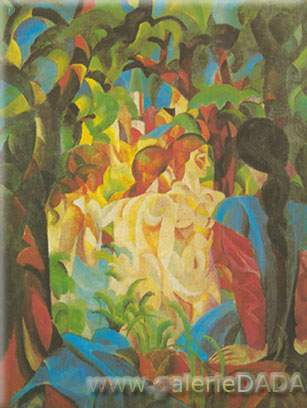 August Macke,  Girls Bathing with Town in Background Fine Art Reproduction Oil Painting