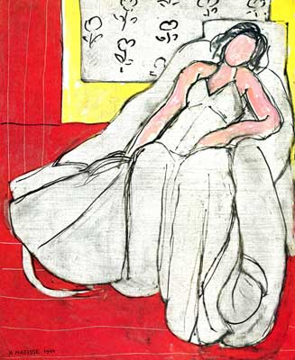 Henri Matisse,  Young Girl in White on a Red Background Fine Art Reproduction Oil Painting