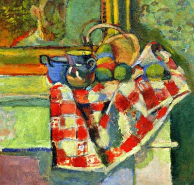 Still Life, Checked Tablecloth
