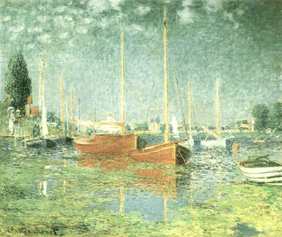 Claude Monet,  Red Boats, Argenteuil Fine Art Reproduction Oil Painting