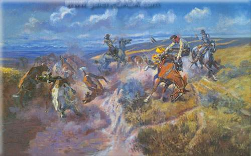 Charles M. Russell,  A Tight Dally and Loose Latigo Fine Art Reproduction Oil Painting