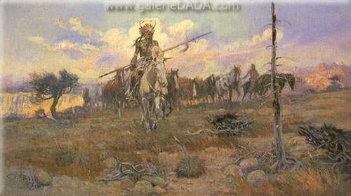 Charles M. Russell,  Bringing Home the Spoils Fine Art Reproduction Oil Painting