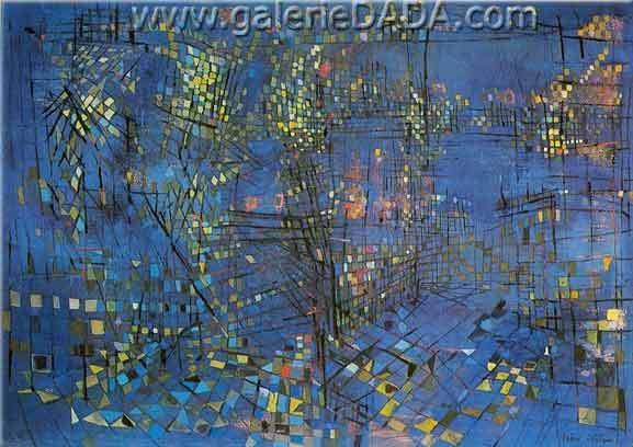 Vieira Da Silva, Paris at Night Fine Art Reproduction Oil Painting