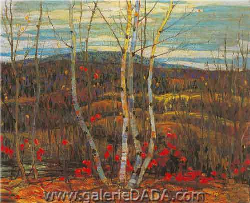 Alexander Y. Jackson, Maple and Birches Fine Art Reproduction Oil Painting