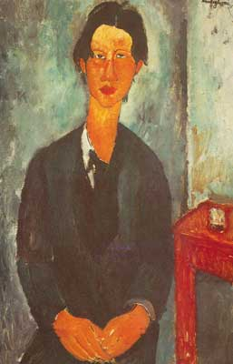 Amedeo Modigliani, Chaim Soutine Seated at a Table Fine Art Reproduction Oil Painting