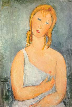 Amedeo Modigliani, Girl in a White Chemise Fine Art Reproduction Oil Painting