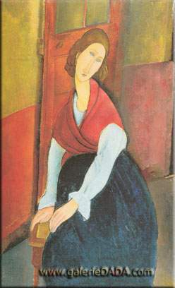 Amedeo Modigliani, Jeanne Hebuterne a Door in the Background Fine Art Reproduction Oil Painting