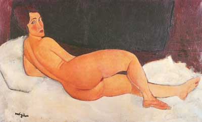 Amedeo Modigliani, Nude Looking over her Right Shoulder Fine Art Reproduction Oil Painting
