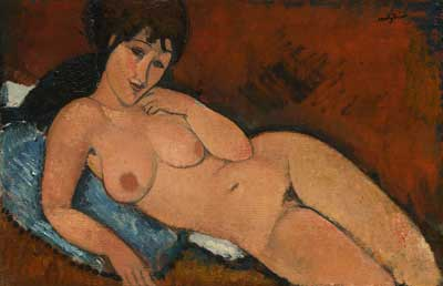 Amedeo Modigliani, Nude on a Blue Cushion Fine Art Reproduction Oil Painting