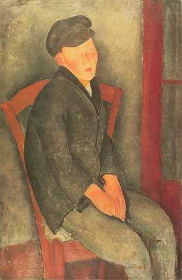 Amedeo Modigliani, Seated Boy with Cap Fine Art Reproduction Oil Painting