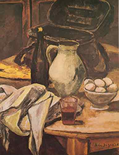 Andre Dunoyer de Segonzac, Still Life with Wine Glass Fine Art Reproduction Oil Painting