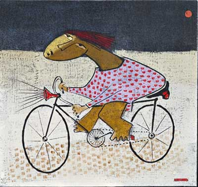 Angel Botello, Nina Corriendo Bicicleta Fine Art Reproduction Oil Painting
