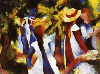 August Macke, Girls In The Forest Fine Art Reproduction Oil Painting