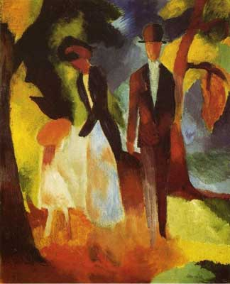 August Macke, People by a Blue Lake Fine Art Reproduction Oil Painting