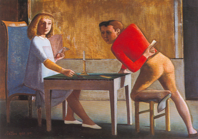 Balthasar Balthus,  The Game of Cards Fine Art Reproduction Oil Painting