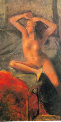 Balthasar Balthus,  Nude with Arms Raised Fine Art Reproduction Oil Painting