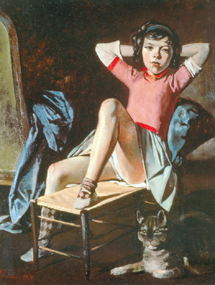 Balthasar Balthus, Girl with a Cat Fine Art Reproduction Oil Painting
