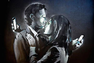 Banksy, Mobile Lovers Fine Art Reproduction Oil Painting