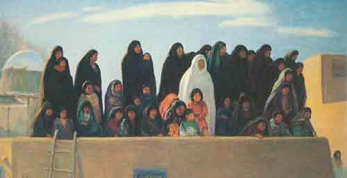 Bert Geer Philips, Spectators at Winter Ceremonial Taos Pueblo Fine Art Reproduction Oil Painting