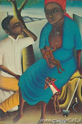 Castera Bazile, Haitian Family Fine Art Reproduction Oil Painting